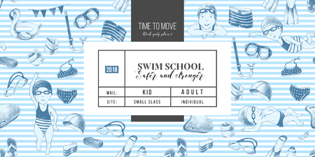 Swim school banner Stock Photo