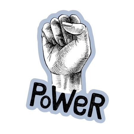 Hand drawn raised fist with lettering. Power symbol. Vector illustration