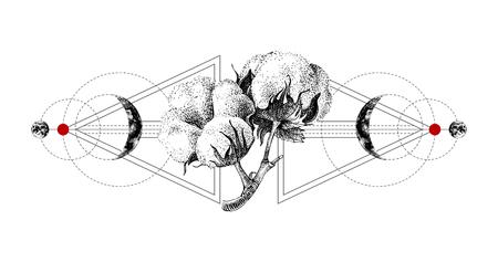 Tatouage géométrique avec du coton dessiné à la main