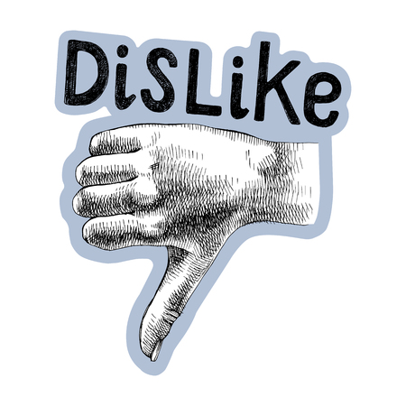 Sketched hand shows thumb down with lettering. Dislike symbol. Vector illustration Illustration