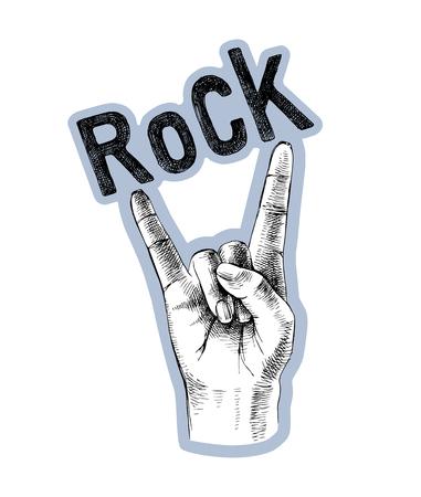 Sketched rock sign gesture Foto de archivo - 117674306