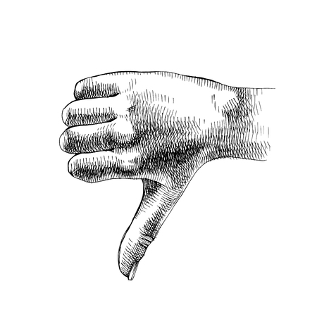 Sketched hand shows thumb down. Dislike symbol. Vector illustration