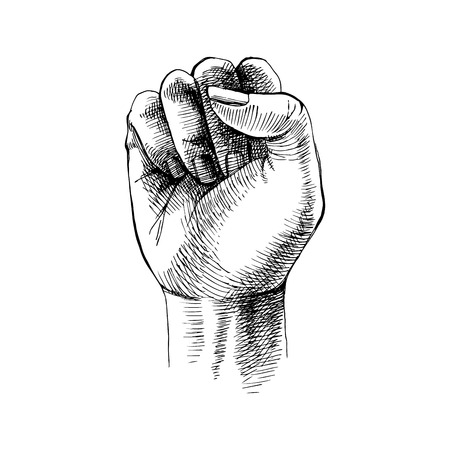 Hand drawn raised fist. Vector illustration Banque d'images - 125778757