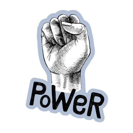 Hand drawn raised fist with lettering. Power symbol. Vector illustration Archivio Fotografico - 125268359