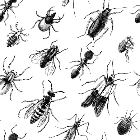 Pest control seamless pattern Vectores