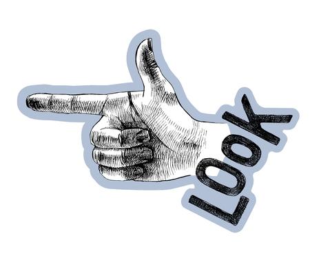 Sketched hand pointer sign with lettering. Vector illustration Ilustração