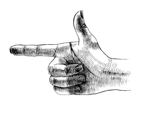 Sketched hand making gun sign. Vector illustration