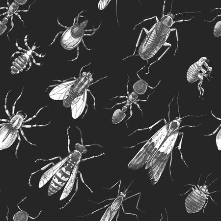 Pest control seamless pattern Stock Illustratie