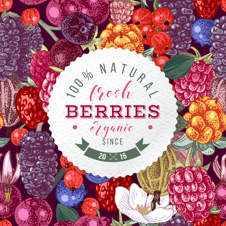 Backgrond with round emblem and type design over hand drawn seamless pattern with berries. Vector illustration Ilustracja