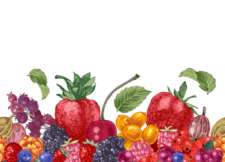 Seamless border with bright hand drawn berries. Vector illustration Çizim