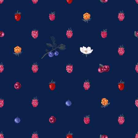 Bright seamless pattern with hand drawn berries on dark bluebackground. Vector illustration