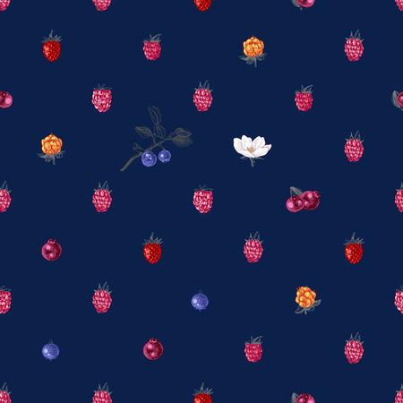 Bright seamless pattern with hand drawn berries on dark bluebackground. Vector illustration