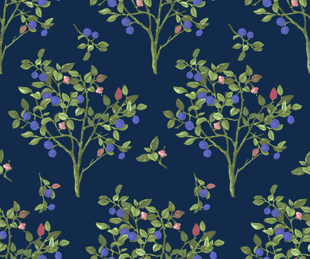Seamless pattrn with blueberry bushes Ilustracja