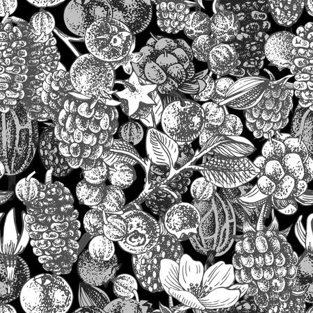 Monochrome seamless pattern with hand drawn berries on dark background. Vector illustration Illustration