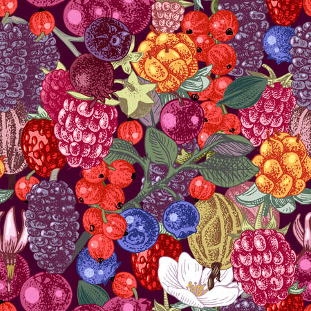 Bright seamless pattern with hand drawn berries on dark background. Vector illustration