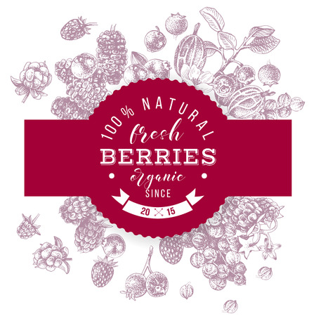 Backgrond with round emblem, type design and hand drawn berries. Vector illustration