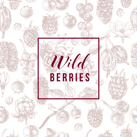 Wild berries emblem over seamless pattern with hand drawn berries