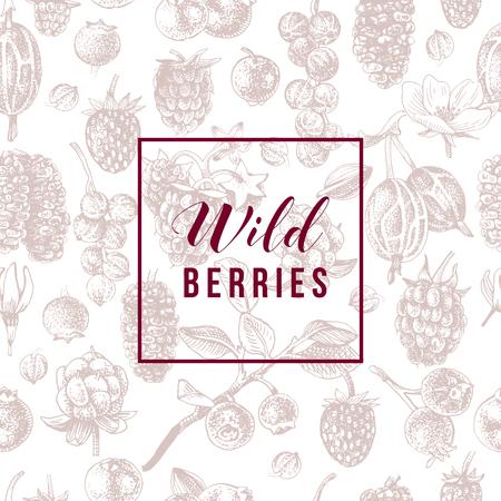 Waldbeerenemblem über nahtlosem Muster mit handgezeichneten Beeren
