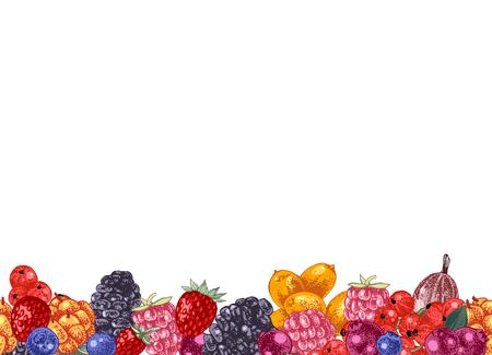 Bright seamless border with hand drawn berries. Vector illustration Çizim