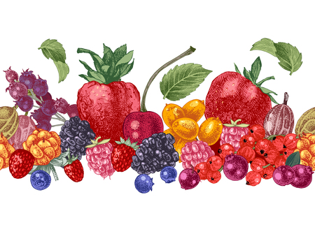 Bright seamless border with hand drawn berries. Vector illustration Ilustracja