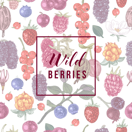 Wild berries emblem over seamless pattern with hand drawn berries. vector illustration