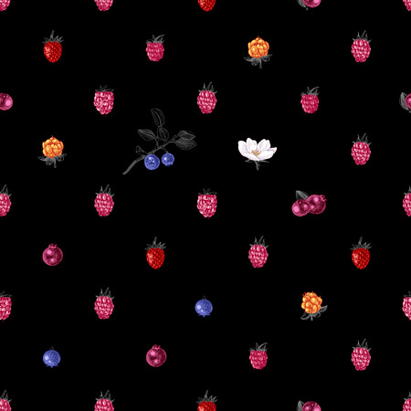 Bright seamless pattern with hand drawn berries on black background. Vector illustration Illustration