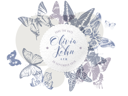 Wedding day emblem over hand drawn butterflies butterflies background in soft vintage colors. Vector illustratio