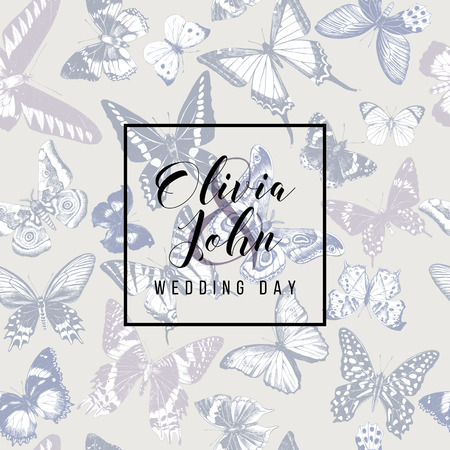 Wedding day emblem over hand drawn seamless pattern with butterflies in soft vintage colors. Vector illustratio  イラスト・ベクター素材