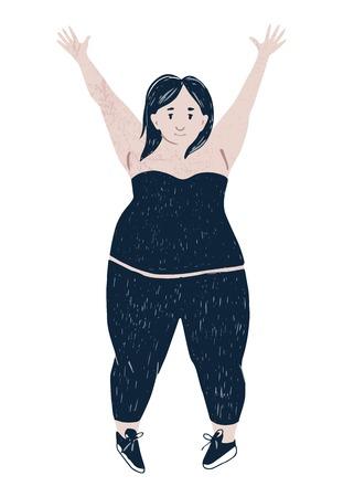 Beautiful plus size happy woman. Body positive concept. Vector illustration