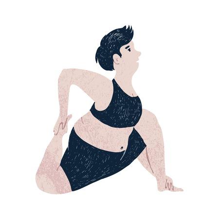 Beautiful plus size woman stratching. Body positive concept. Vector illustration Çizim