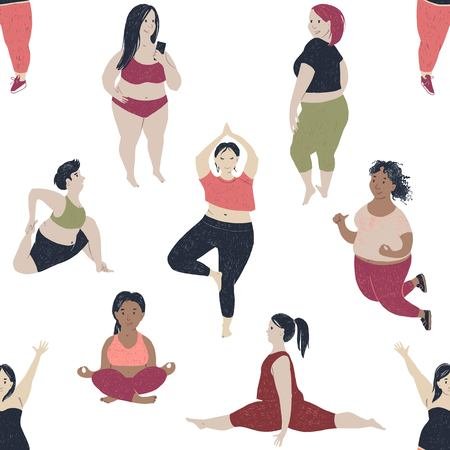 Seamless pattern with women of different size and body proportions. Body positive theme. Vector illustration.