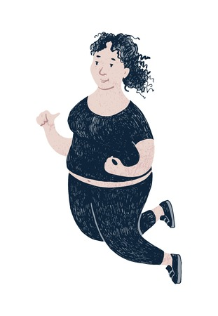 Beautiful plus size woman jumping. Body positive concept. Vector illustration