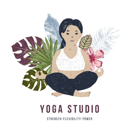 Body positive yoga concept. Plus size woman sitting in front of tropical leaves and flowers. Vector illustration
