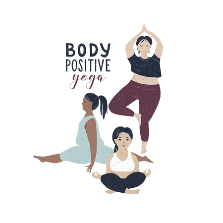 Body positive yoga concept. Vector illustration Archivio Fotografico - 118014231