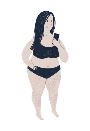 Beautiful plus size woman with phone. Body positive concept. Vector illustration