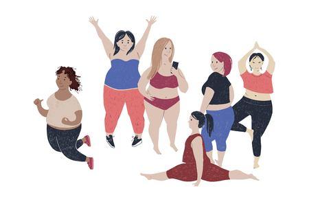 6 beautiful hand drawn plus size women. Body positive theme. Vector illustration. Çizim
