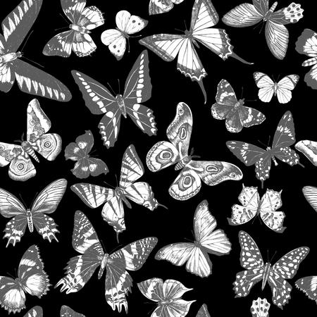 Monochrome seamless pattern with hand drawn butterflies on black background. Vector illustration Çizim