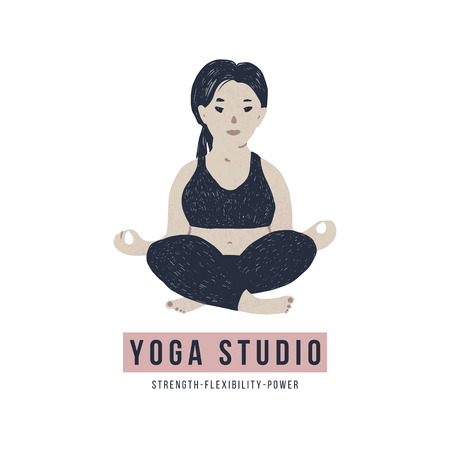 Body positive yoga concept. Vector illustration Çizim