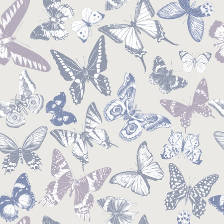 Seamless pattern with hand drawn butterflies in soft vintage colours. Vector illustration Çizim