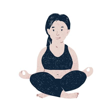 Beautiful plus size woman meditaiting. Body positive concept. Vector illustration