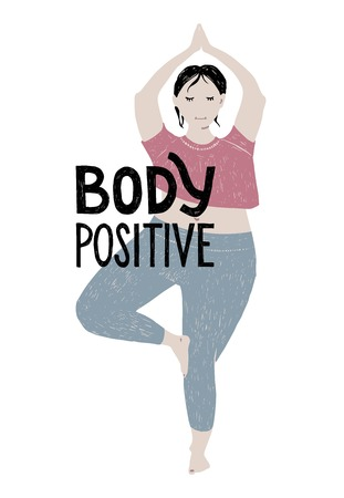 Beautiful plus size woman practising yoga. Body positive concept with hand drawn lettering. Vector illustration