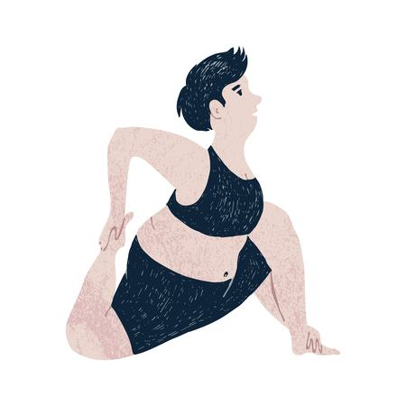 Beautiful plus size woman stratching. Body positive concept. Vector illustration Ilustração