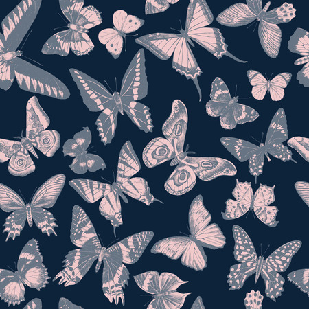 Seamless pattern with hand drawn butterflies on dark blue background. Vector illustration