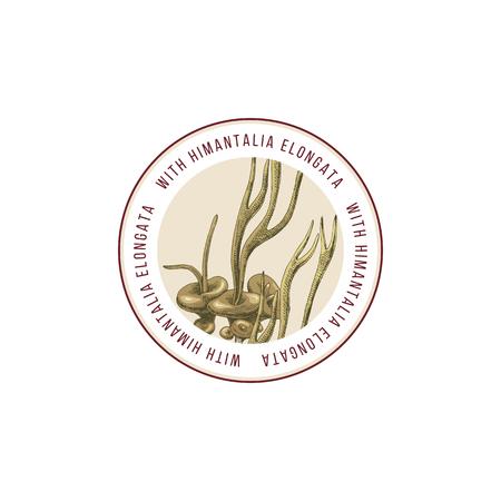 Round emblem with hand drawn Himantalia Elongata algae. Vector illustration Reklamní fotografie - 122825696