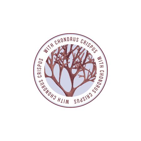 Rundes Emblem mit handgezeichneten Chondrus Crispus Algen