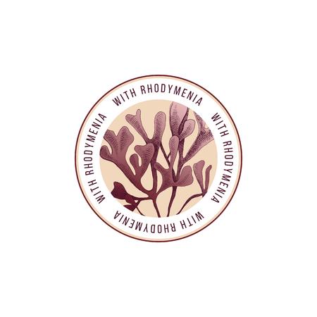 Round emblem with hand drawn rhodymenia palmata seaweed. Vector illustration Vecteurs