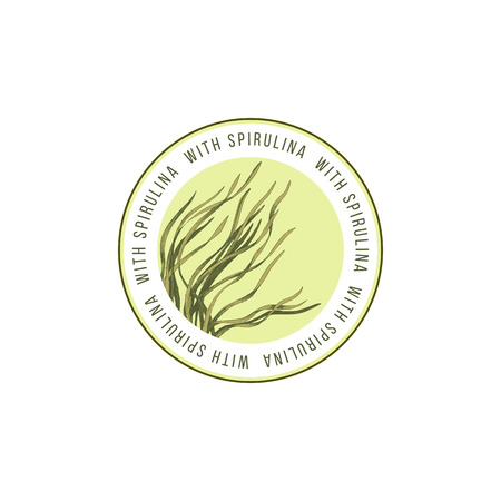 Round emblem with hand drawn spirulina seaweed. Vector illustration Illustration