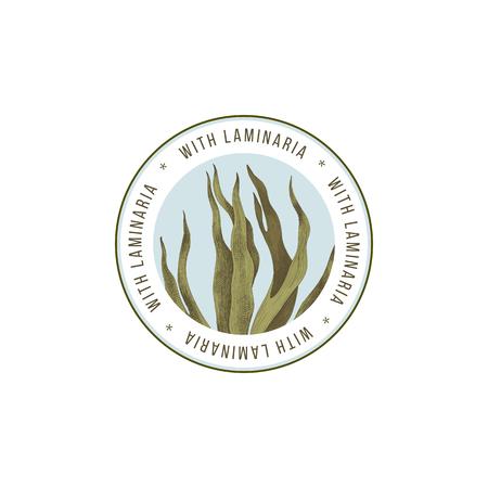 Emblème rond avec algues laminaria digitata dessinées à la main. Illustration vectorielle