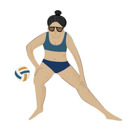 Girl playing beach volleyball. Vector illustration Illustration