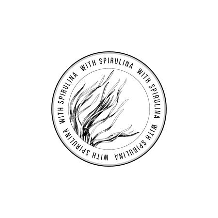 Round emblem with hand drawn spirulina seaweed. Vector illustration Ilustrace
